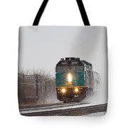 Passenger Train Blowing Snow On Curve Tote Bag