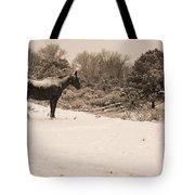 Snow Bound Horse Tote Bag