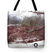 Snow Cabin And Tire Swing Tote Bag