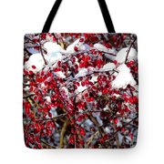 Snow Capped Berries Tote Bag
