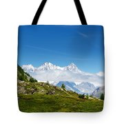 Snow-capped Mountain And Cloud Tote Bag