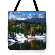 Snow Capped Pikes Peak At Crystal  Tote Bag