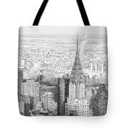 Snow - Chrysler Building And New York City Skyline Tote Bag