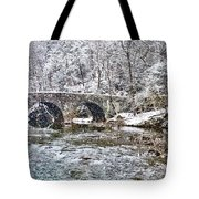 Snow Coming Down On The Wissahickon Creek Tote Bag