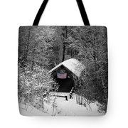 Snow Covered Covered Bridge  Tote Bag