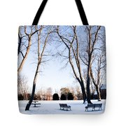 Snow Covered Green Tote Bag