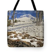 Snow Covered Mount Hood In Oregon Tote Bag