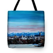 Snow Covered Munich Winter Panorama With Alps Tote Bag