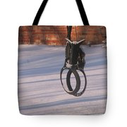 Snow Covered Rocking Horse Swing Tote Bag