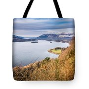 Snow Covered Skiddaw Above Derwent Water Tote Bag