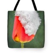Snow Covered Tulip Tote Bag