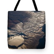 Snow Covered Volcano Showing Caldera Tote Bag