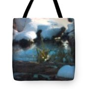 Snow Covered Waterscape Tote Bag