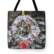 Snow Covered Wreath Tote Bag