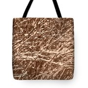 Snow Covers A Tree Branch In Winter Tote Bag