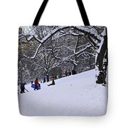 Snow Day In The Park Tote Bag