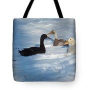 Snow Ducks Tote Bag