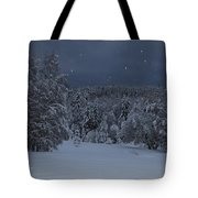 Snow Falling In A Forest Tote Bag