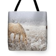 Snow Falling On Horses Tote Bag
