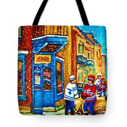 Snow Falling On The Game Tote Bag