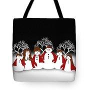 Snow Family 2 Square Tote Bag