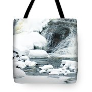 Snow Formations At Bottom Of Bond Falls Tote Bag