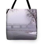 Snow From Lewis Island Bridge Tote Bag