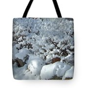 Snow Frosted Bush Tote Bag
