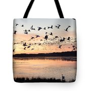Snow Geese At Chincoteague Last Flight Of The Day Tote Bag