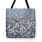 Snow Geese Flock In Flight Tote Bag