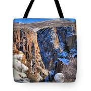 Snow In The Black Canyon Tote Bag