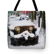 Snow Jeep Tote Bag