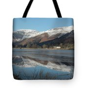 Snow Lake Reflections Tote Bag