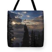 Snow Lake Sunset Tote Bag