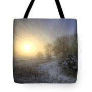 Snow Landscape Sunrise Tote Bag