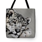Snow Leopard Digital Art Tote Bag