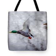Snow Mallards Tote Bag