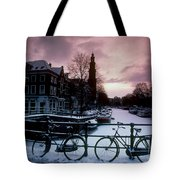 Snow On Canals. Amsterdam, Holland Tote Bag