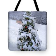 Snow On Christmas Tree Tote Bag