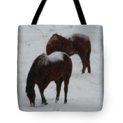 Snow On Horses Tote Bag