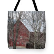 Snow On Red Barn Roof Tote Bag