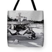 Snow On The Fountain Tote Bag