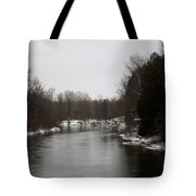 Snow On The Manistee River Tote Bag