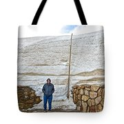Snow Piles At Alpine Visitor's Center In Rocky Mountain National Park-colorado Tote Bag