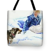 Snow Play Sadie And Andrew Tote Bag by Carolyn Coffey Wallace