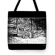 Snow Plow In Black And White Tote Bag