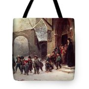 Snow Scene  Children Leaving School Tote Bag