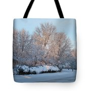 Snow Trees Sunrise 2-2-15 Tote Bag