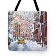 Snow West Village New York City Tote Bag