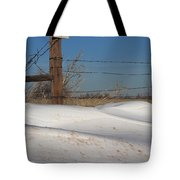 Snowbank On A Country Road Tote Bag by Robert D  Brozek